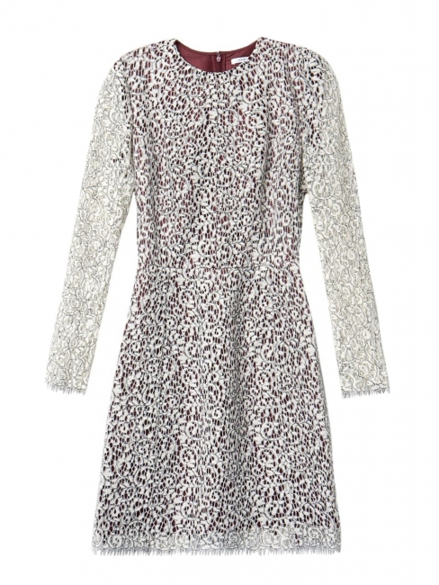 Long sleeves ivory white lace dress lined in burgundy Retail price €1100 Size 36