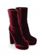 Bottines à talon et plate-forme en velours rouge bordeaux NEUVES Prix boutique 700€ Taille 39