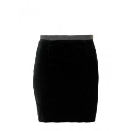 Jupe taille haute droite en velours noir et bouton doré Prix boutique 700€ Taille 36