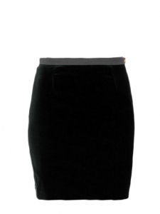 CHLOE Black velvet high waist straight cut skirt with gold button Retail price €700 Size 36