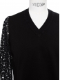 Deep black merino wool V neck sweater with eyelet crochet lace sleeves Retail price €850 Size S