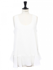 ICONIC Ivory white silk crepe tank top Retail price €390 Size 36