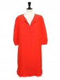 Bright red silk short sleeves peter pan collar Couture dress Retail price €1500 Size 40