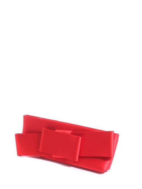 Bright red satin evening clutch bag Retail price $795