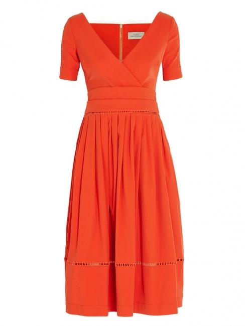 Robe ROBIN col V dos ouvert en crêpe rouge orange Px boutique 1150€ Taille 36