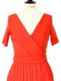 Robe ROBIN col V dos découpé en crêpe stretch orange Px boutique 1150€ Taille 36