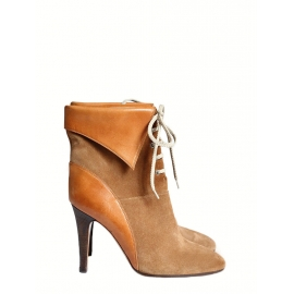KATHLEEN Camel brown suede lace up ankle boots Retail price €595 Size 38