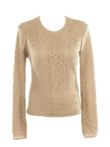 Beige camel long sleeves floral lace top Retail price €800 size 38