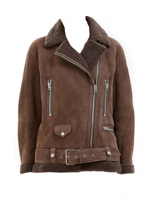 Manteau shearling More she sue en laine retournée marron chocolat Prix boutique 2300€ Taille 34 à 38