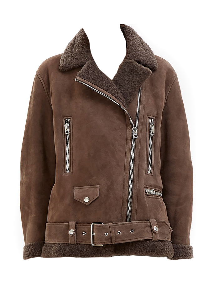 ACNE STUDIOS Manteau shearling More she sue en laine retournée marron  chocolat Prix boutique 2300€ ... 5dbfbcb34c1