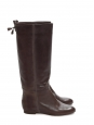 Dark braun leather knee high boots Retail price €850 Size 39