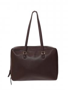 Dark brown grained leather shoulder bag (briefcase) Retail price 1750€