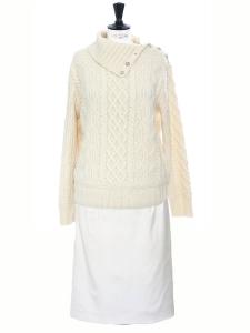 Jupe crayon taille haute à pinces blanc crème Px boutique 500€ Taille 34
