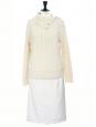 Cream white high waist gathered pencil skirt Retail price €500 Size 34