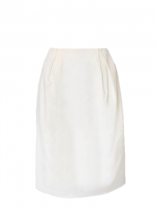 Cream white high waist gathered pencil skirt Retail price €500 Size 34
