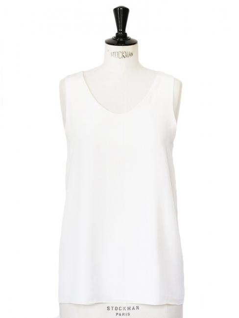 Débardeur en crêpe de soie blanc ivoire Px boutique 390€ Taille 38