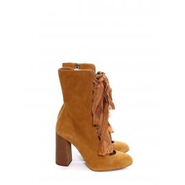 Bottines lacées à talon HARPER en suede marron camel Prix boutique 910€ Taille 39