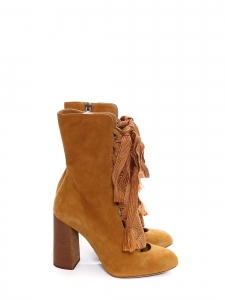 HARPER Tan brown suede leather wooden heel boots Retail price €910 Size 39