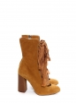 HARPER Tan brown suede leather wooden heel lace up boots Retail price €910 Size 39