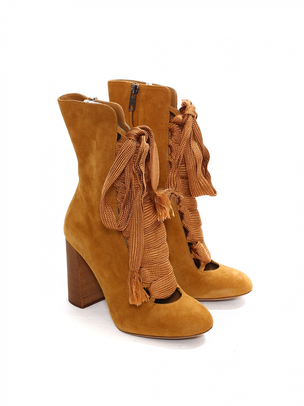 4a1dd2ac9e Louise Paris - CHLOE HARPER Tan brown suede leather wooden heel boots  Retail price €910 Size 39