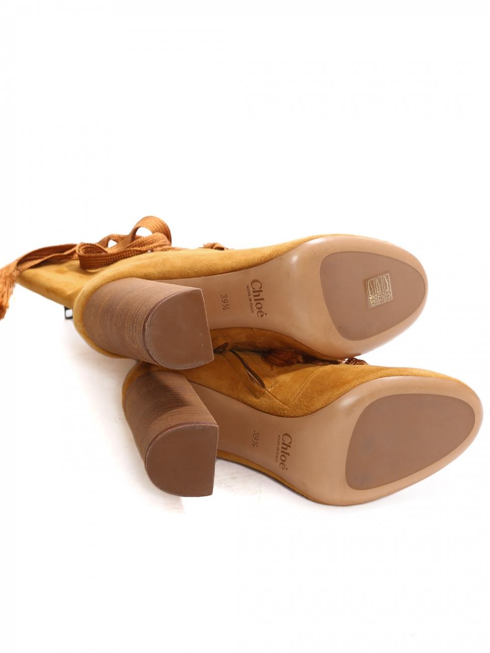 565a321ab5 Louise Paris - CHLOE HARPER Tan brown suede leather wooden heel ...