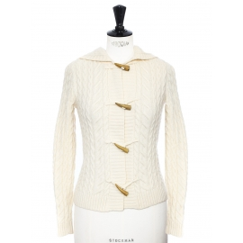 Cream white Irish wool cardigan with wooden buttons Retail price €159 Size XS
