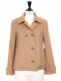 Tan brown beige wool short pea coat Retail price €350 Size 38