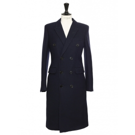 Navy blue wool double-breasted long pea coat Retail price €2990 Size XS/S