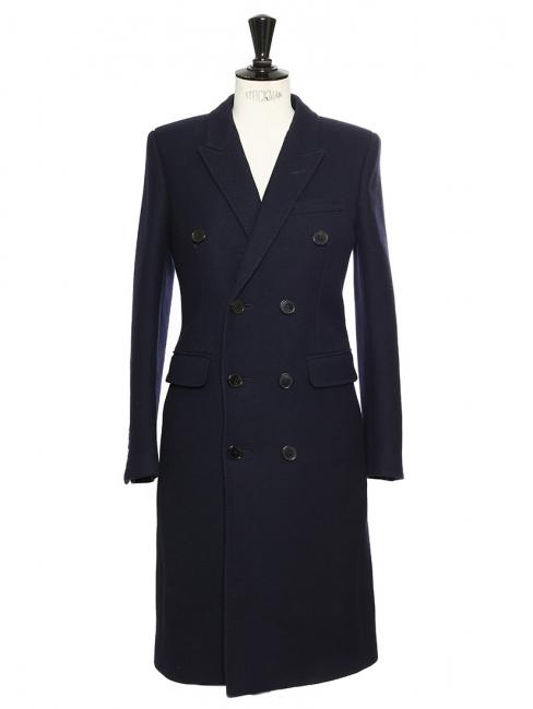Manteau caban long à double boutonnage en laine et soie bleu marine Prix boutique 2990€ Taille 34/36