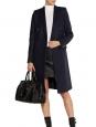 Manteau caban long à boutonnage double en laine et soie bleu marine Px boutique 2990€ Taille 34/36
