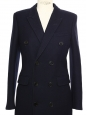 Black wool double-breastedlong pea coat Retail price €2990 Size XS/S