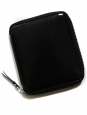Black glazed leather square wallet with silver leather lining Retail price €140