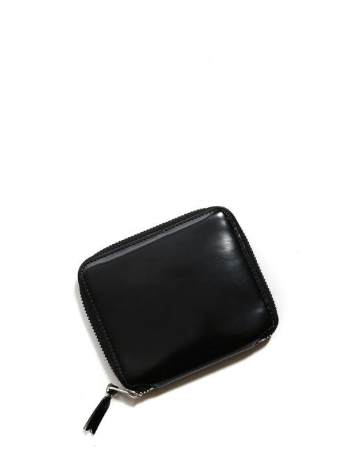 Portefeuille en cuir glacé noir intérieur argent Prix boutique 140€