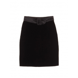 Black velvet high waist skirt with satin belt Size 36
