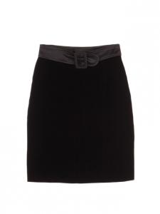 Black velvet high waist skirt with satin belt Size 36