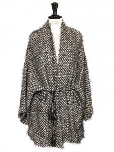 Manteau veste kimono ceinturé en tweed noir beige et doré Prix boutique 736€