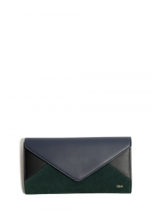 Dark green suede and navy and blue leather enveloppe continental wallet Retail price €350