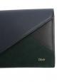 Portefeuille long à rabat en cuir vert noir et bleu nuit Px boutique 350€