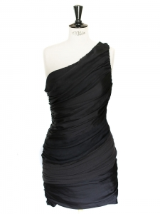Black silk one shoulder cocktail dress NEW Retail price 1500€ Size 36/38