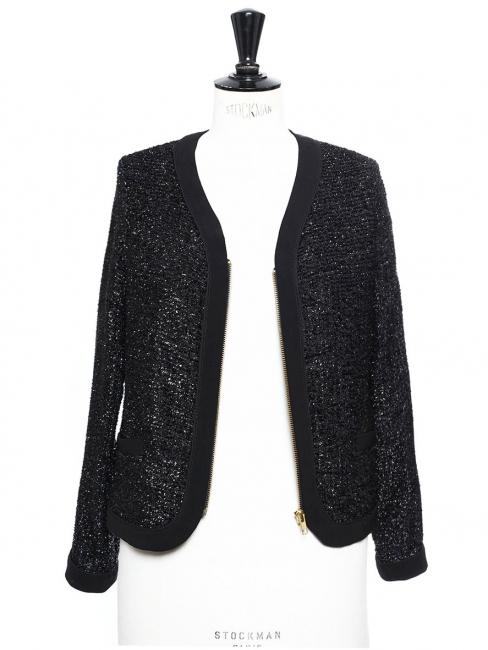 Black glitter cropped evening jacket Size XS