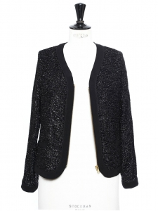 Black cotton and lurex jacket Size 36