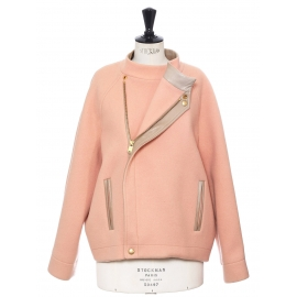 Veste blouson en laine et angora rose et cuir beige Prix boutique 1750€ Taille 42
