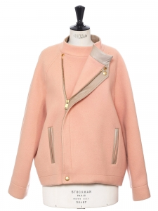 Pink felted wool and angora oversized leather trimmed jacket Retail price €1750 Size 42