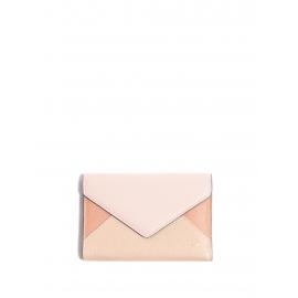 Portefeuille ENVELOPPE à rabat en cuir rose et beige Px boutique 350€