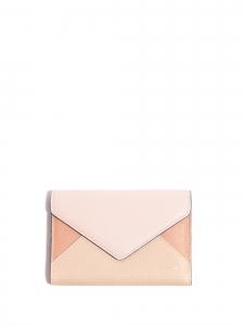 Pink and beige leather enveloppe continental wallet Retail price €350