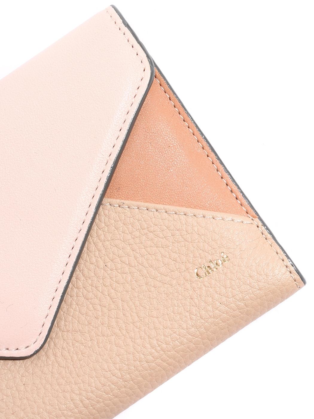 8a35cde2f60 ... Portefeuille ENVELOPPE long à rabat en cuir rose et beige Px boutique  350€ ...