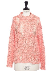 SIDIQ candy pink linen crochet knit sweater Retail price $350 Size S