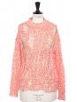 SIDIQ candy pink linen crochet knit sweater Retail price $350 Size S