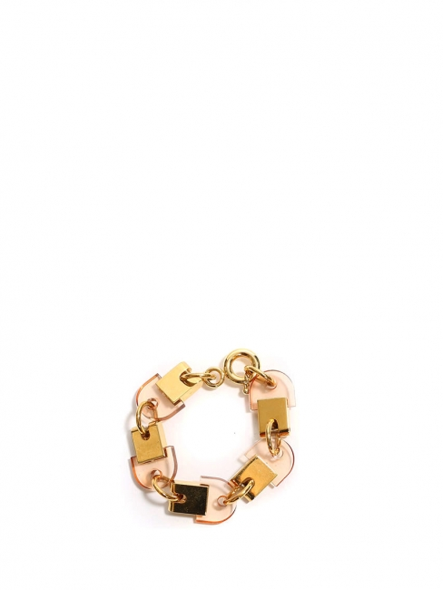 Gold brass cuff bracelet with light pink stones Retail price €380