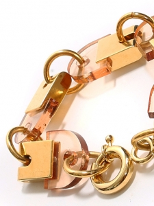 Gold brass cuff bracelet with light pink stones Retail price €380